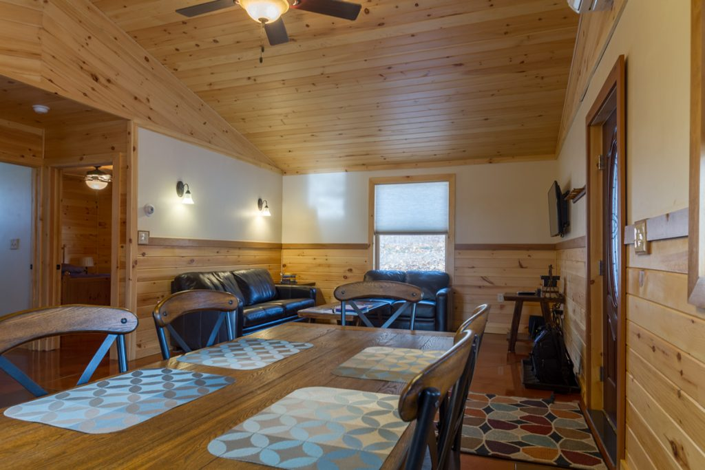 Cabin A Open Floor plan Dining & Living areas