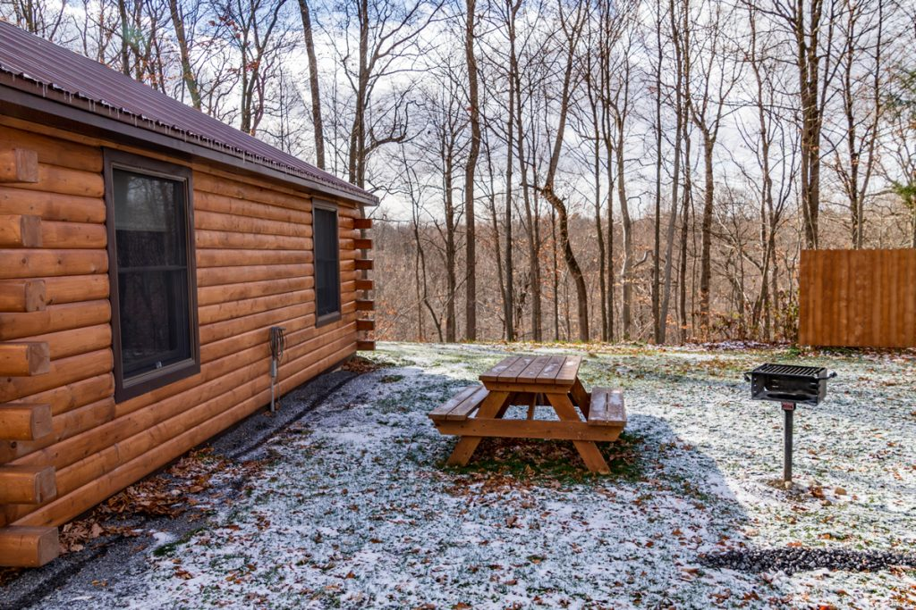 Cabin B picnic table and charcoal grill